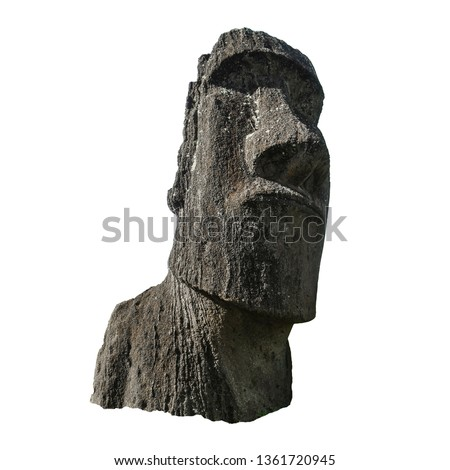 Sculpture of a Moai from Ahu Tongariki (Easter Island, Chile) isolated on white background Stok fotoğraf ©