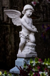 Sculpture of a small white angel next to a grave in a cemetery in Galicia, Spain