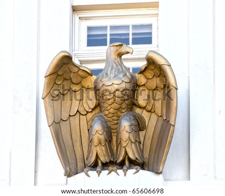 Sculpture of an eagle near a window in Ashland, OR