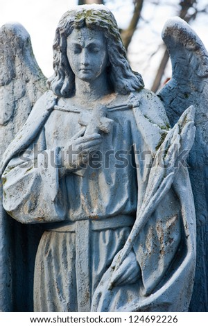 Sculpture of Angel at a old Prague cemetery