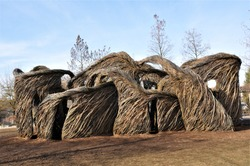 Sculpture of artist Patrick Dougherty for the U.S. Botanic Gtarden .