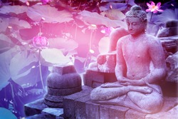 Sculpture of Buddha on a floral pink background. Sacred lotus flowers. Artistic image. Buddhism concept.