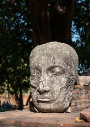 Sculpture of Buddha's face separated from the body, made of stone, eyes closed, Khmer influence. Fallen Head alone exhibited in Wat Maha That, Ayutthaya historical park, Thailand, Asia, Indo-China