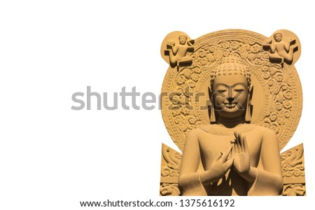 Sculpture of buddha statue carve from sandstone,white left and right copy space.Representation of respect congregation religious,Symbol of worship patience reason intention meditation peace-image  #1375616192