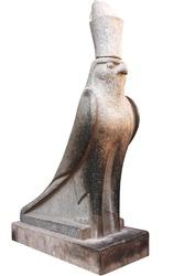 Sculpture of Egyptian god Horus isolated on white background