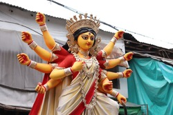 Sculpture of Hindu Goddess Durga .  Durga Puja festival in West Bengal, India