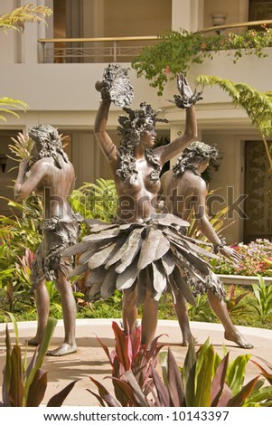 Sculpture of Hula Dancers in Hotel Lobby