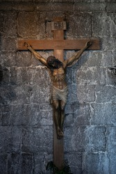 Sculpture of Jesus crucified in a church