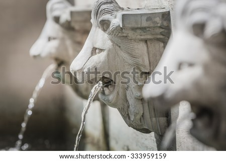 Sculpture of lion head fountains decorated in the park in closeup.