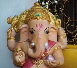 Sculpture of Lord Ganesh at the Temple