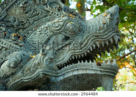 Sculpture of naga ? mythical creature in eastern mythology
