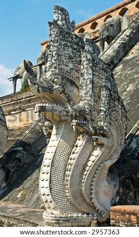 Sculpture of naga, mythical creature in eastern mythology, Ching Mai, Yhailand