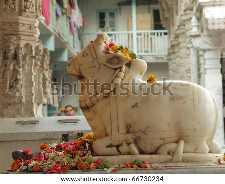 Sculpture of Nandi ( bull ) in front of hindu temple, Bombay, India
