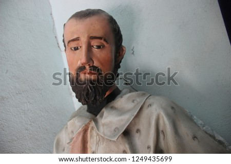 sculpture of religious figure religious figure sculpture #1249435699