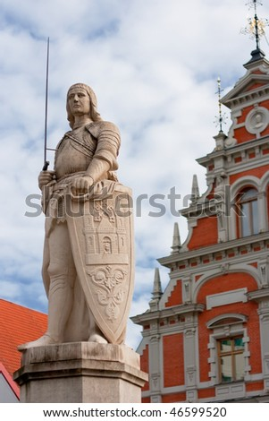 Sculpture of Roland in front of House of Blackheads. Riga, Latvia