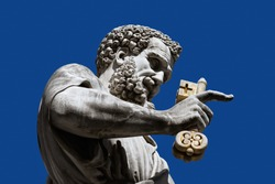 Sculpture of Sacred Peter with a key before St. Peter's Cathedral, Vatican