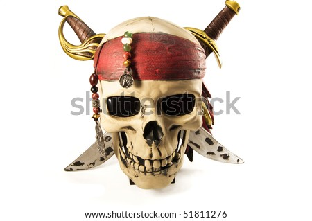 Sculpture of skull with knives, beads and triangular scarf