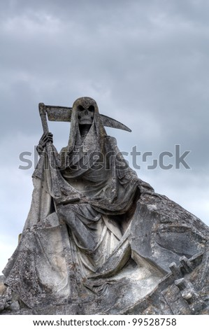 Sculpture of stone grim reaper