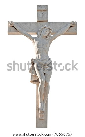 Sculpture of the crucifixion of Jesus isolated on a white background with clipping path
