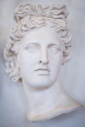 Sculpture of the face of a beautiful Greek woman
