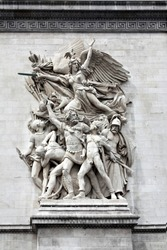 Sculpture on the Arch of Triumph, Paris - Le Départ de 1792 (or La Marseillaise), by François Rude, celebrating the cause of the French First Republic during the 10 August uprisin