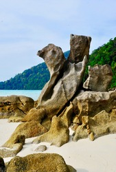 Sculpture texture rock on sandy beach of Surin island background is scenery of mountain, clam blue sea, sky. Shape of stone looks like chicken figure outline.