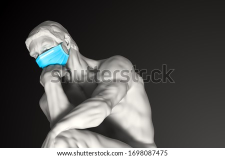 Sculpture Thinker In Medical Mask. Novel Coronavirus (Covid-19). Concept Of Coronavirus Quarantine. 3D Illustration.  ストックフォト ©