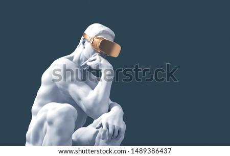 Sculpture Thinker With Golden VR Glasses On Blue Background. 3D Illustration. ストックフォト ©