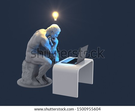 Sculpture Thinker With Laptop And Glowing Light Bulb Over His Head As Symbol Of New Idea. Blue Background. 3D Illustration. ストックフォト ©