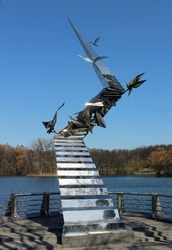 Sculpture with flying birds, Minsk, Belarus