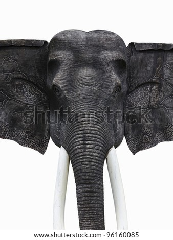 Sculpture wooden elephant isolated on white with  with clipping path