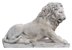 Sculptured figures of lions, made in the workshop of the Italian sculptor Giovanni Bonnani (19th) from the palace of Count Vorontsov in Alupka, Crimea.
