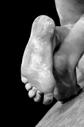 sculptured stone feet
