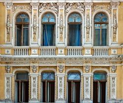 Sculptures facade window shopping mall Odessa