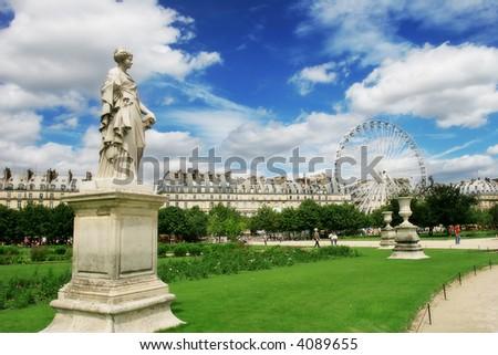 Sculptures in famous Tuileries Garden (Jardin des Tuileries) near Louvre museum in Paris, France.