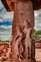 sculptures of hindu gods on facade of 7th century temple carved walls in Pattadakal karnataka. It's one of the UNESCO World Heritage Sites and complex of 7th and 8th century CE Hindu and Jain temples.