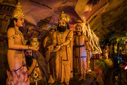 sculptures of Indian epic characters, scenes from Ramayana and Mahabharata, Batu caves