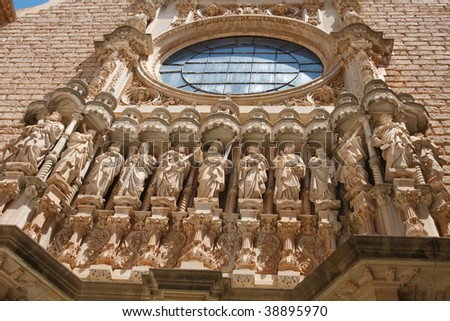 Sculptures of Jesus Christ and the 12 apostles at the Basilica at the Montserrat Monastery near Barcelona, Catalonia, Spain.