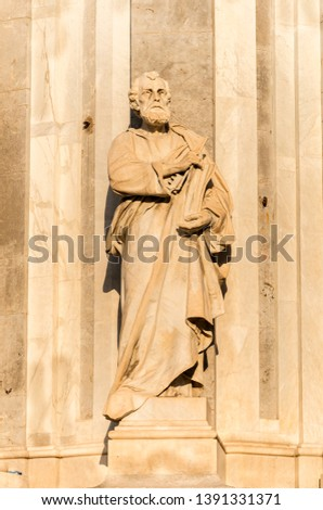 Sculptures of Metropolitan Cathedral of Saint Agatha in Catania, Sicily, Italy. #1391331371