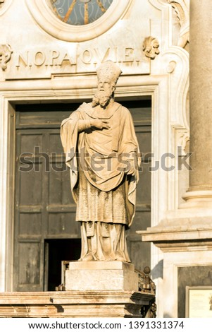 Sculptures of Metropolitan Cathedral of Saint Agatha in Catania, Sicily, Italy. #1391331374