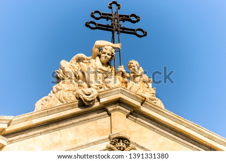 Sculptures of Metropolitan Cathedral of Saint Agatha in Catania, Sicily, Italy. #1391331380