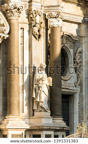 Sculptures of Metropolitan Cathedral of Saint Agatha in Catania, Sicily, Italy. #1391331383
