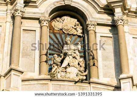 Sculptures of Metropolitan Cathedral of Saint Agatha in Catania, Sicily, Italy. #1391331395