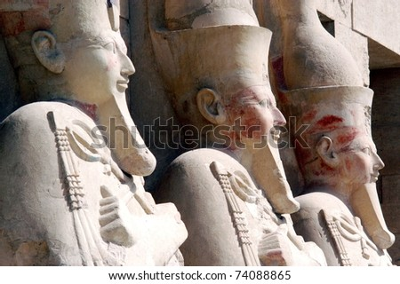 Sculptures of Pharaohs at theGreat Temple of Hatshepsut in Luxor, Egypt.