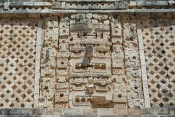 Sculptures of Uxmal's ruins in Merida Yucatan.