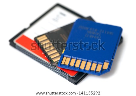 SD and Compact Flash Memory Cards iSolated on White Background.