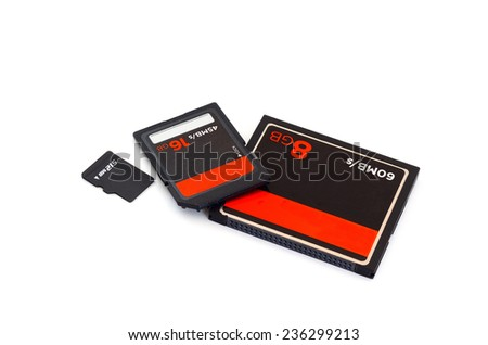 SD card ,CF Card ,Compact flash card and micro SD card isolate on white background