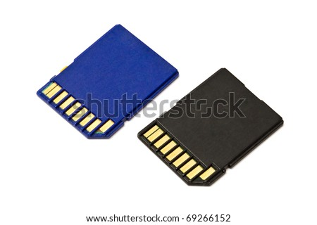 SD cards isolated on white background - stock photo