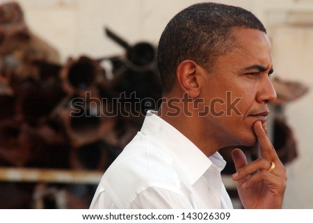 SDEROT, ISR - JULY 23:Barack Obama on July 23 2008.Sderot is a frequent Palestinian rocket attacks target from Gaza Strip.In his visit he warned that nuclear-armed Iran will threat world security.