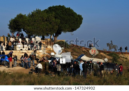 SDEROT - JAN 07:Foreign correspondents on January 7 2009.A report from 2011 shows that since 1992, 887 journalists have been killed worldwide by murder, crossfire, combat and on dangerous assignments.